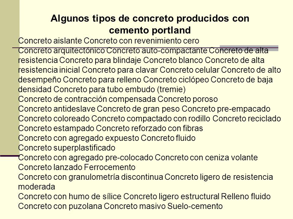 Algunos tipos de concreto producidos con