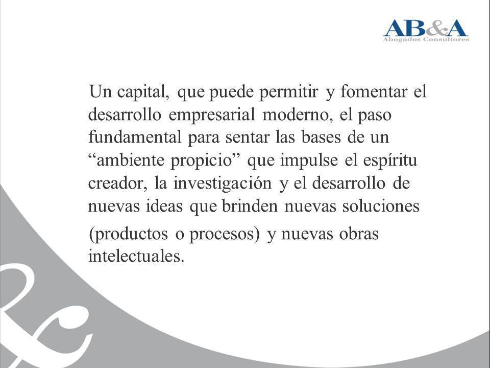 Un capital, que puede permitir y fomentar el desarrollo empresarial moderno, el paso fundamental para sentar las bases de un ambiente propicio que impulse el espíritu creador, la investigación y el desarrollo de nuevas ideas que brinden nuevas soluciones