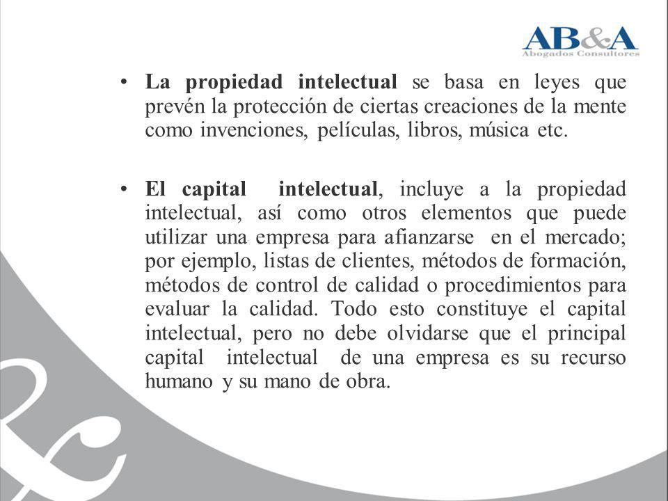 La propiedad intelectual se basa en leyes que prevén la protección de ciertas creaciones de la mente como invenciones, películas, libros, música etc.
