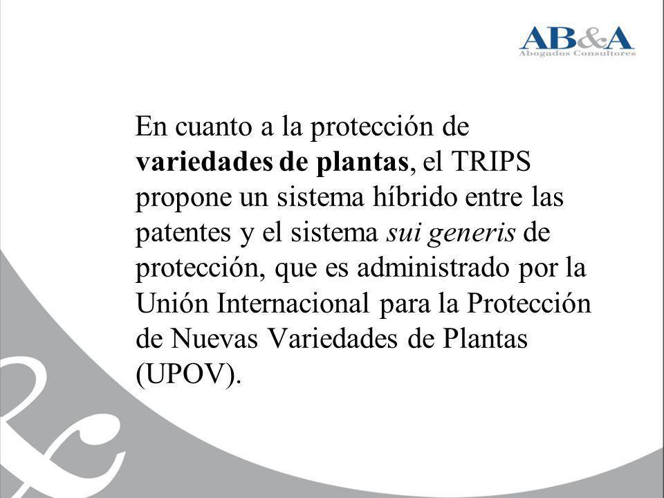 En cuanto a la protección de variedades de plantas, el TRIPS propone un sistema híbrido entre las patentes y el sistema sui generis de protección, que es administrado por la Unión Internacional para la Protección de Nuevas Variedades de Plantas (UPOV).
