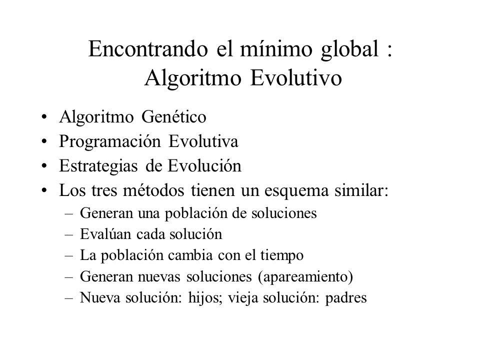 Encontrando el mínimo global : Algoritmo Evolutivo