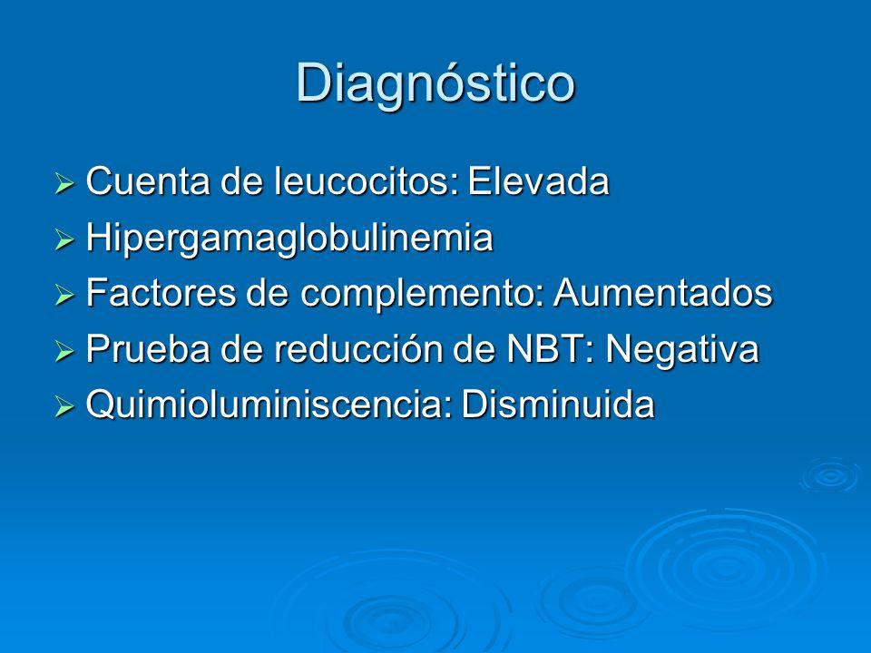 Diagnóstico Cuenta de leucocitos: Elevada Hipergamaglobulinemia