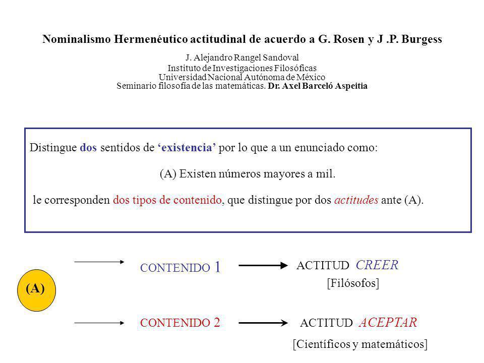 Nominalismo Hermenéutico actitudinal de acuerdo a G. Rosen y J. P