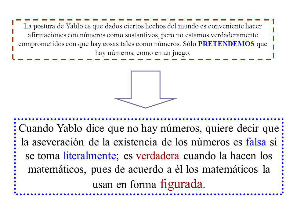 La postura de Yablo es que dados ciertos hechos del mundo es conveniente hacer afirmaciones con números como sustantivos, pero no estamos verdaderamente comprometidos con que hay cosas tales como números. Sólo PRETENDEMOS que hay números, como en un juego.
