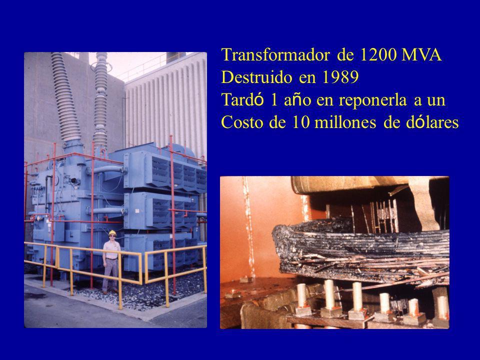 Transformador de 1200 MVA Destruido en 1989. Tardó 1 año en reponerla a un.