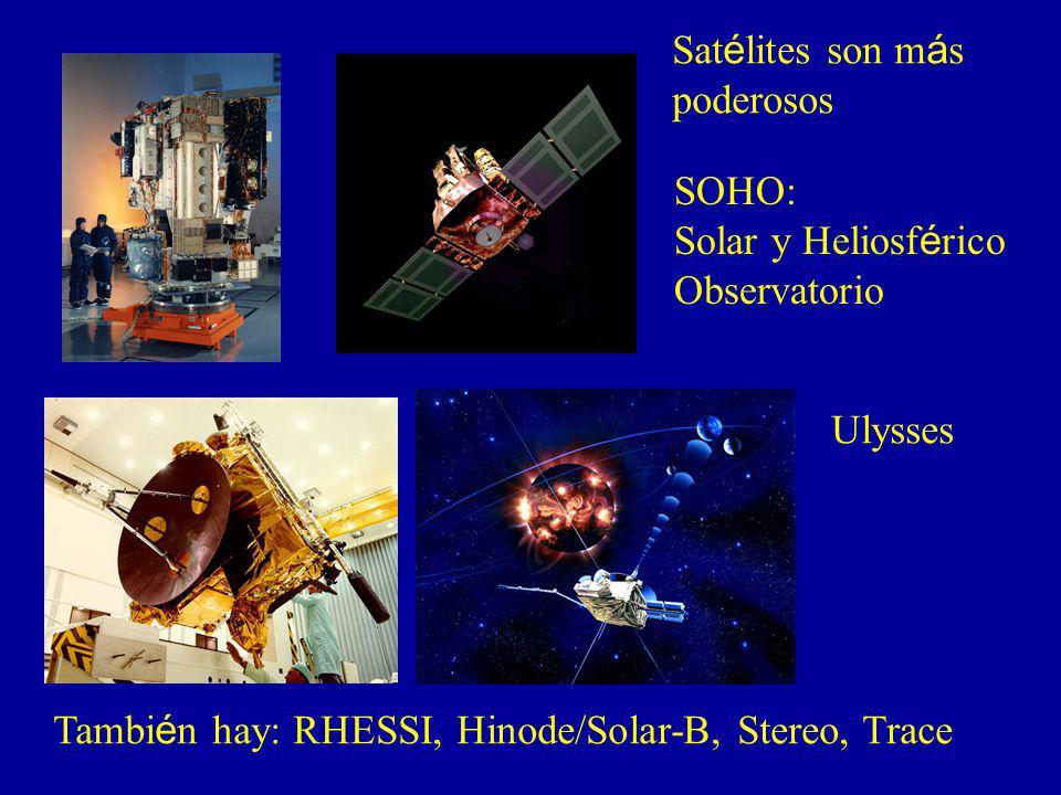 Satélites son más poderosos. SOHO: Solar y Heliosférico.