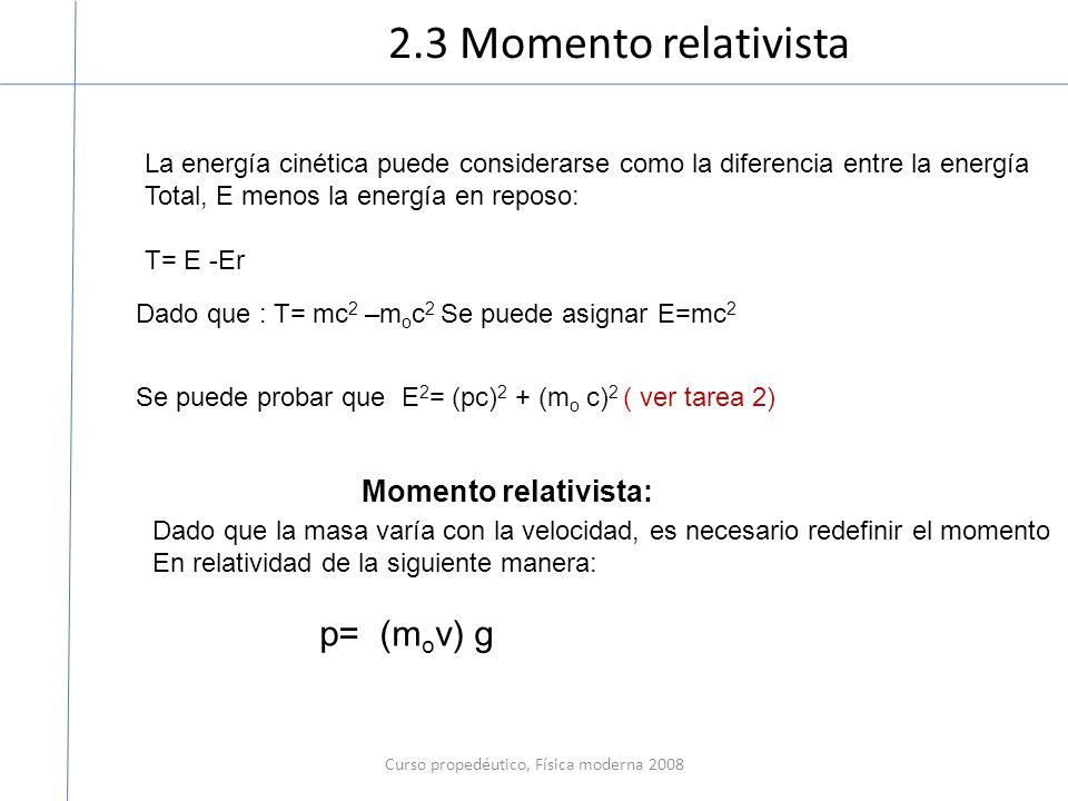 Curso propedéutico, Física moderna 2008