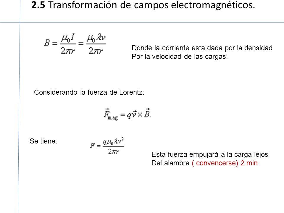 2.5 Transformación de campos electromagnéticos.
