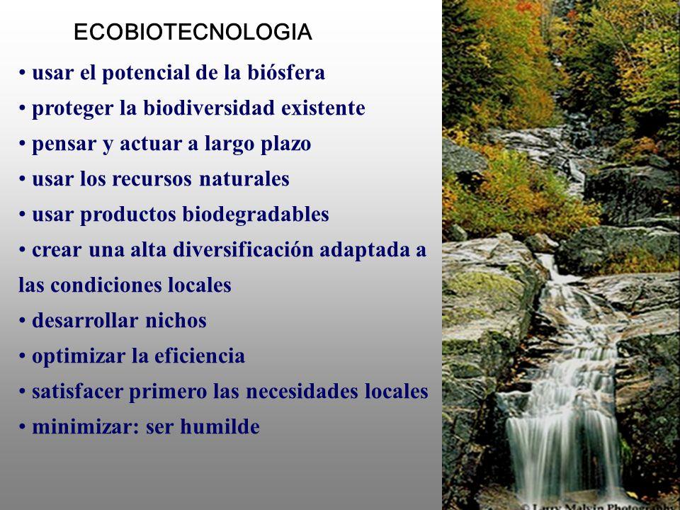 ECOBIOTECNOLOGIA usar el potencial de la biósfera. proteger la biodiversidad existente. pensar y actuar a largo plazo.