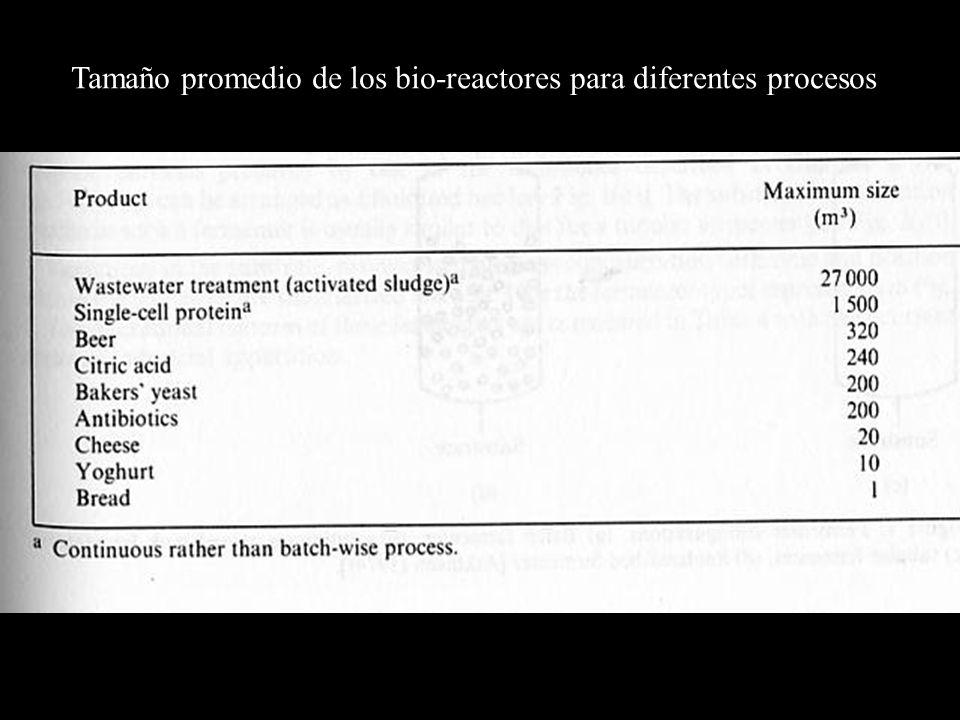 Tamaño promedio de los bio-reactores para diferentes procesos