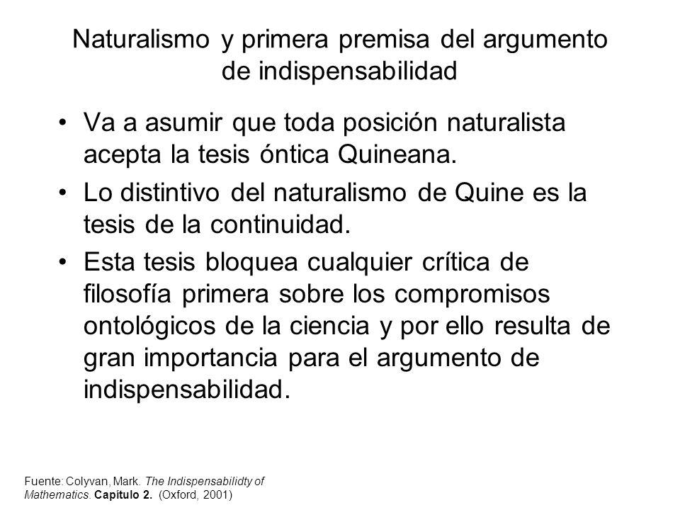 Naturalismo y primera premisa del argumento de indispensabilidad