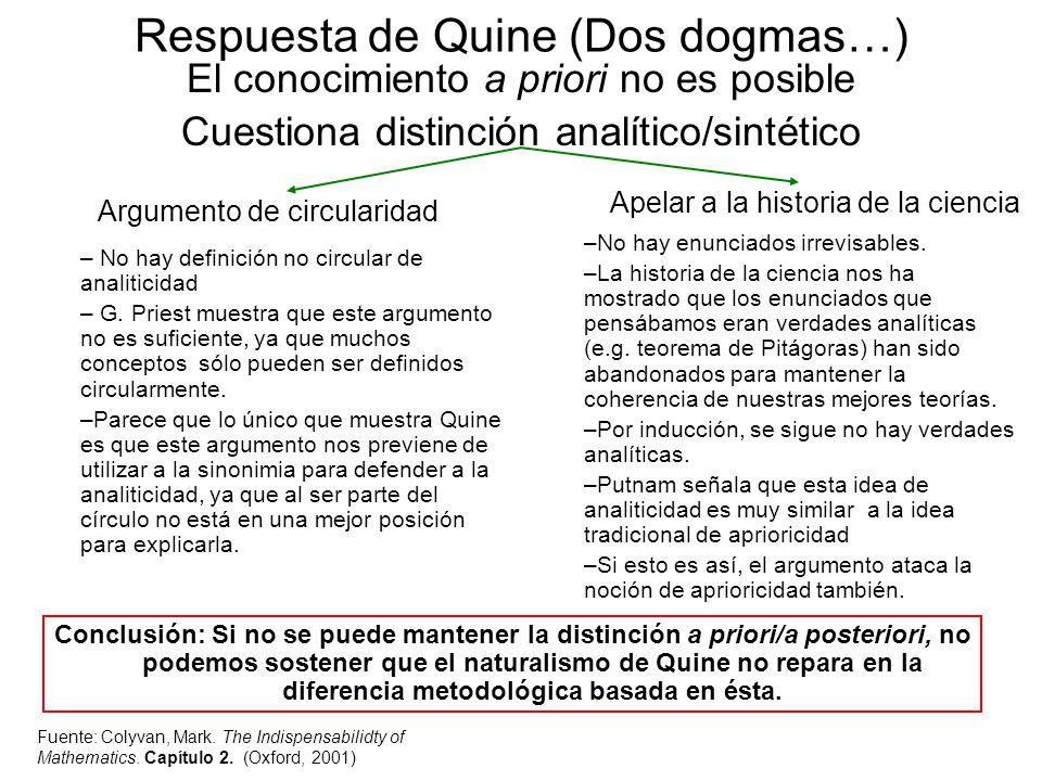 Respuesta de Quine (Dos dogmas…)