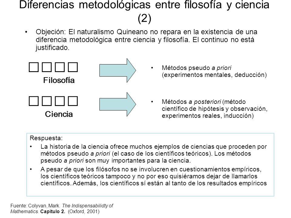 Diferencias metodológicas entre filosofía y ciencia (2)