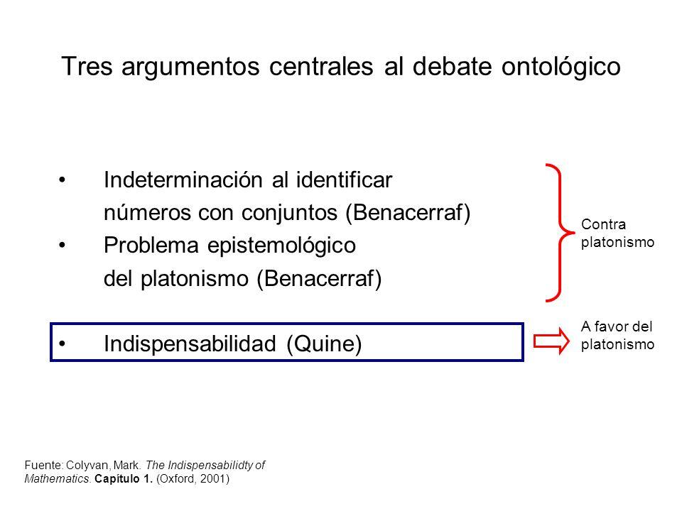 Tres argumentos centrales al debate ontológico