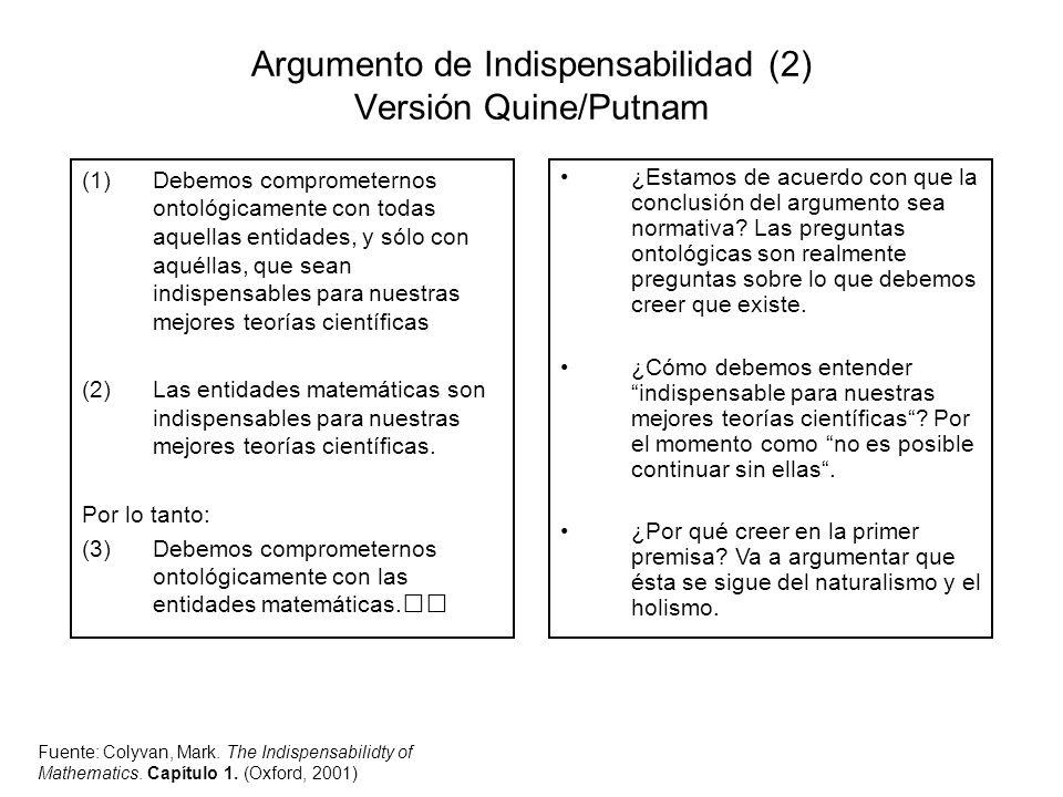 Argumento de Indispensabilidad (2) Versión Quine/Putnam