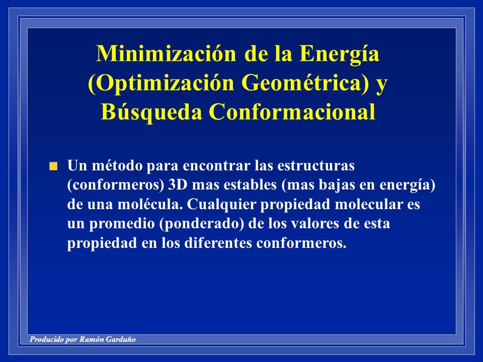 Minimización de la Energía (Optimización Geométrica) y Búsqueda Conformacional