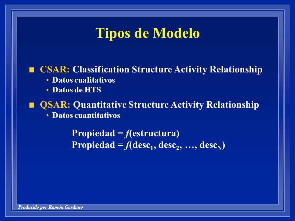Tipos de Modelo CSAR: Classification Structure Activity Relationship