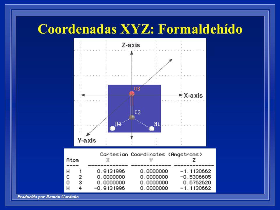 Coordenadas XYZ: Formaldehído