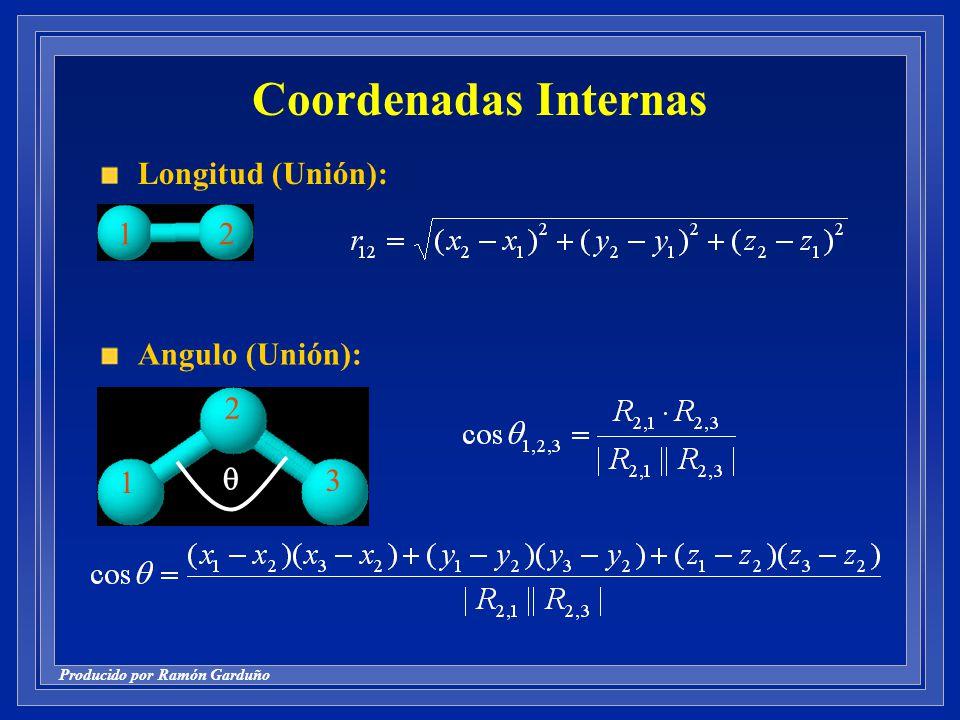 Coordenadas Internas Longitud (Unión): 1 2 Angulo (Unión): 1 2 3 q