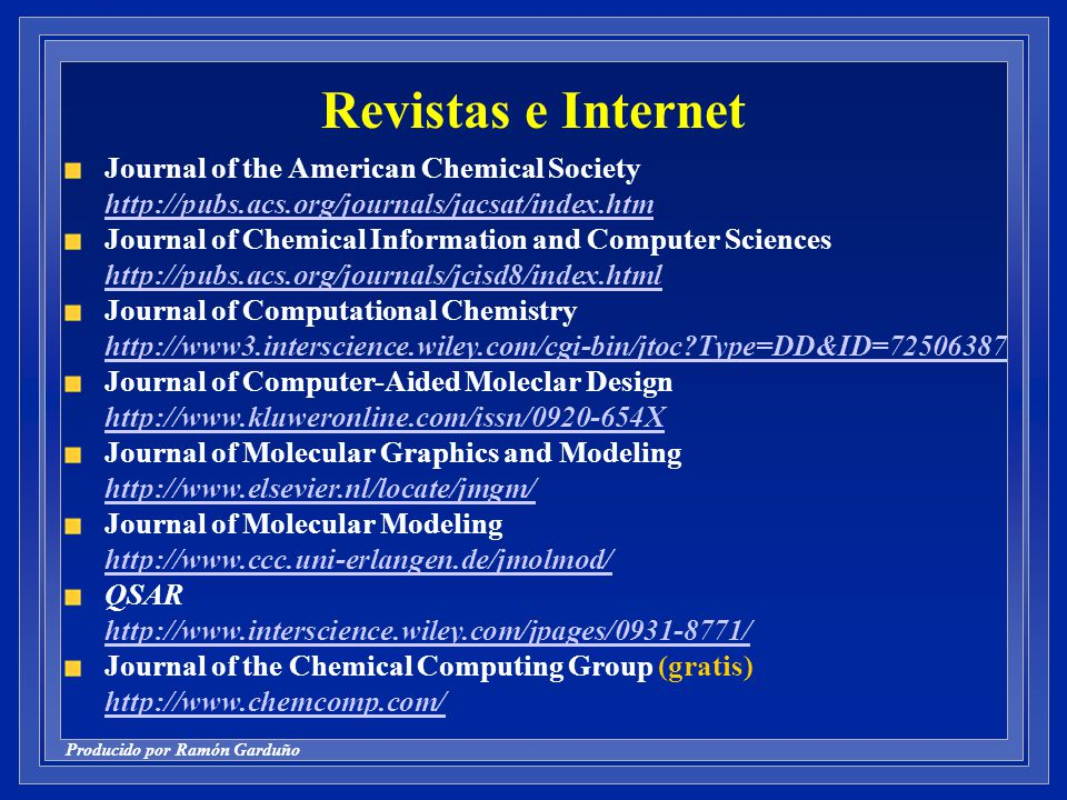 Revistas e Internet Journal of the American Chemical Society