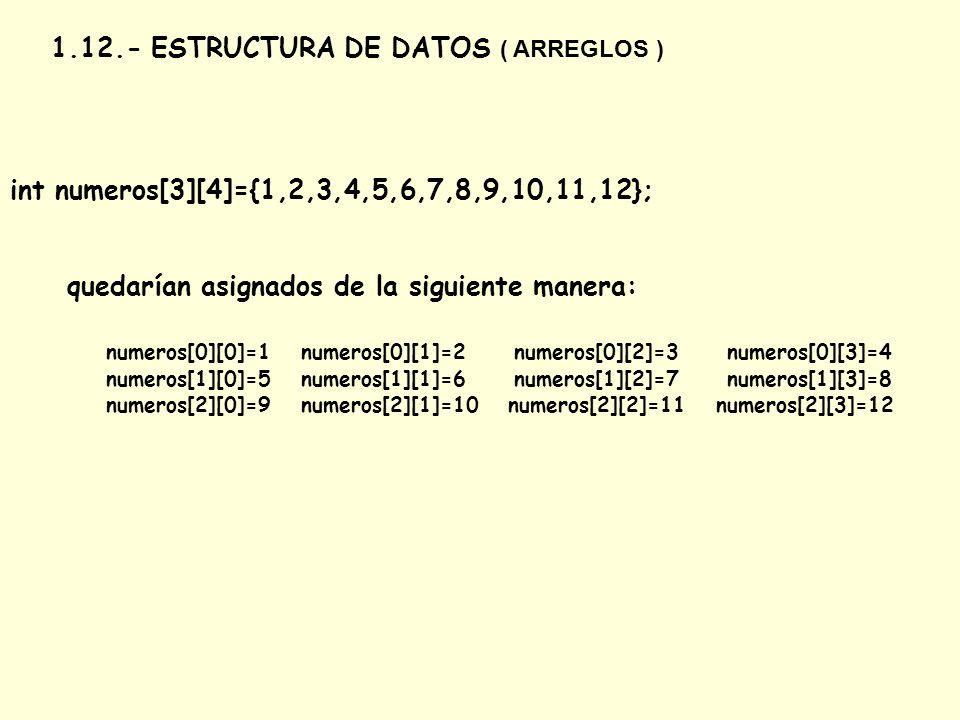 1.12.- ESTRUCTURA DE DATOS ( ARREGLOS )