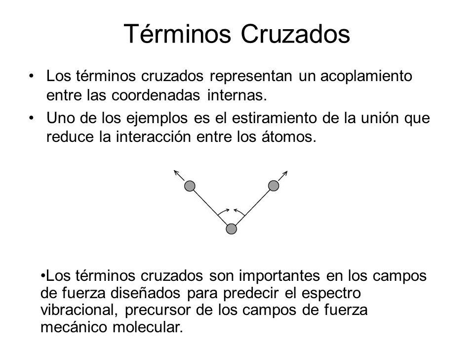 Términos Cruzados Los términos cruzados representan un acoplamiento entre las coordenadas internas.