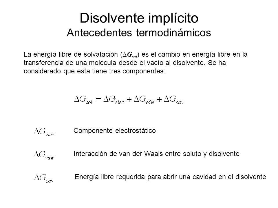 Disolvente implícito Antecedentes termodinámicos