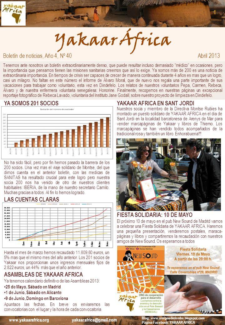 Yakaar África 1 Boletín de noticias, Año 4, Nº 40 Abril 2013