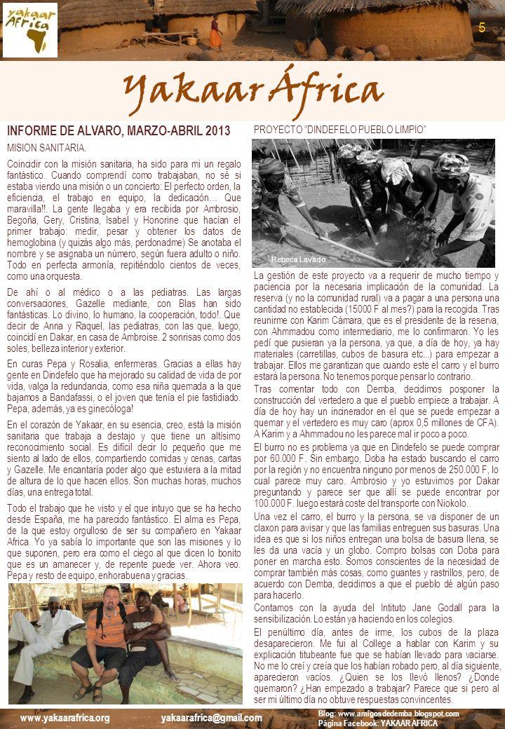 Yakaar África 5 INFORME DE ALVARO, MARZO-ABRIL 2013