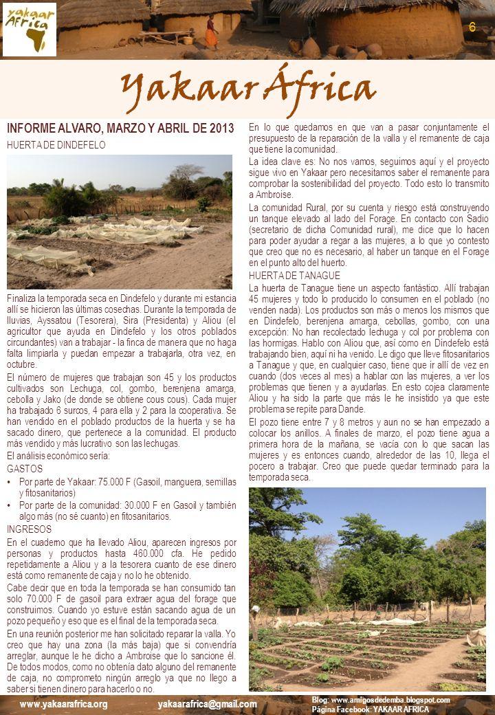 Yakaar África 6 INFORME ALVARO, MARZO Y ABRIL DE 2013