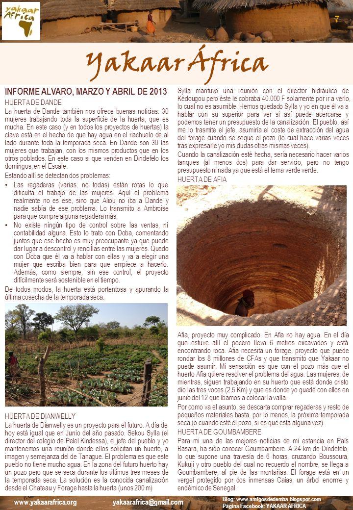 Yakaar África 7 INFORME ALVARO, MARZO Y ABRIL DE 2013