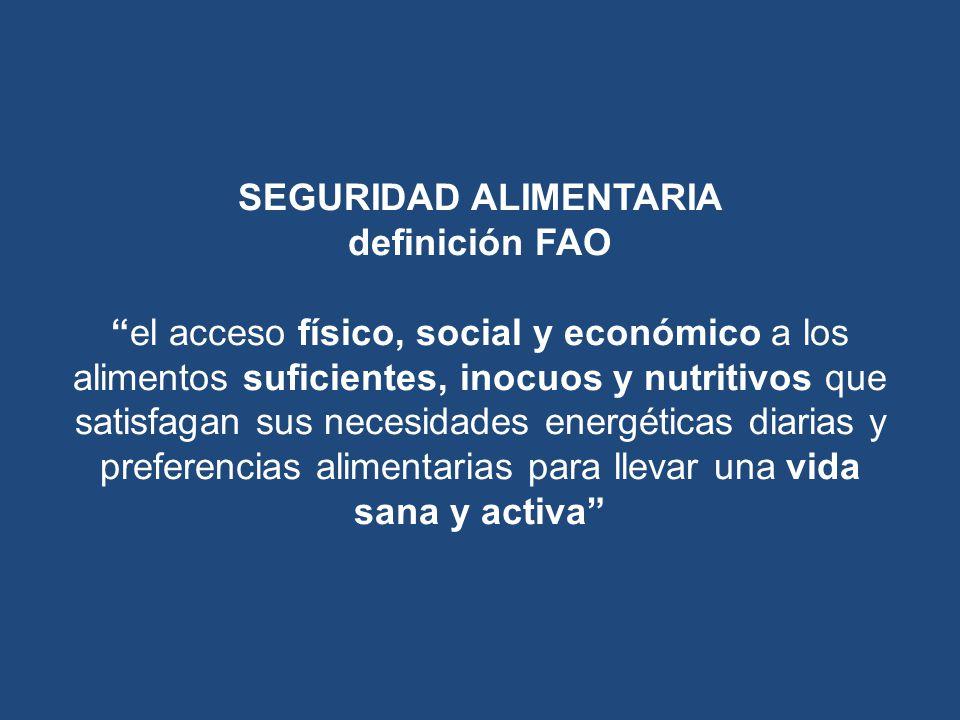 SEGURIDAD ALIMENTARIA definición FAO el acceso físico, social y económico a los alimentos suficientes, inocuos y nutritivos que satisfagan sus necesidades energéticas diarias y preferencias alimentarias para llevar una vida sana y activa