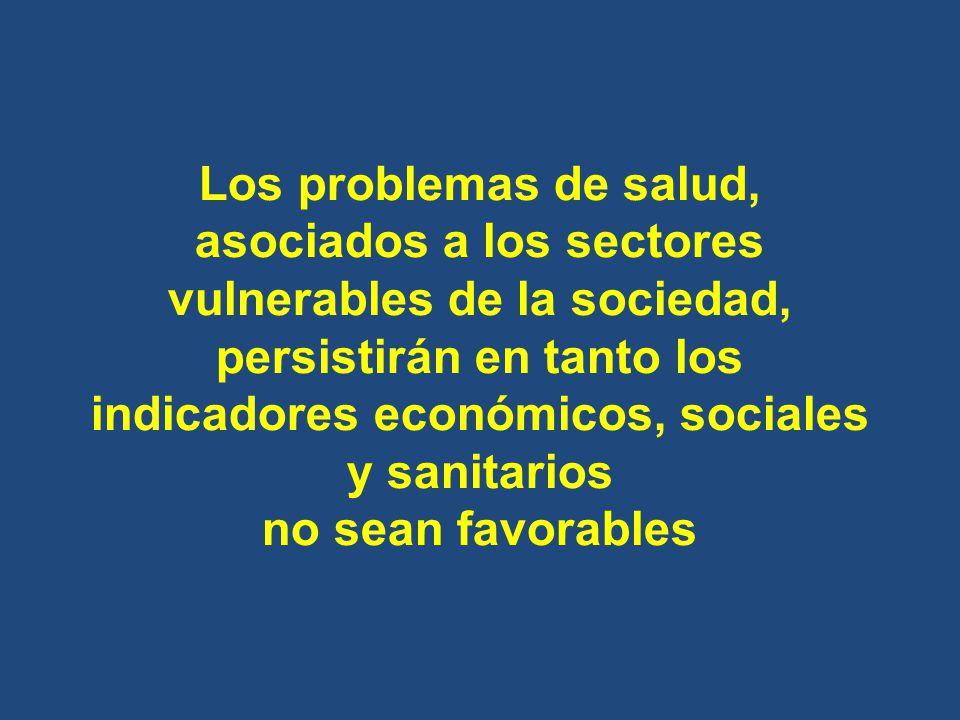Los problemas de salud, asociados a los sectores vulnerables de la sociedad, persistirán en tanto los indicadores económicos, sociales y sanitarios no sean favorables