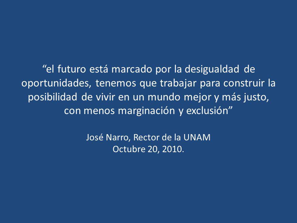 el futuro está marcado por la desigualdad de oportunidades, tenemos que trabajar para construir la posibilidad de vivir en un mundo mejor y más justo, con menos marginación y exclusión José Narro, Rector de la UNAM Octubre 20, 2010.