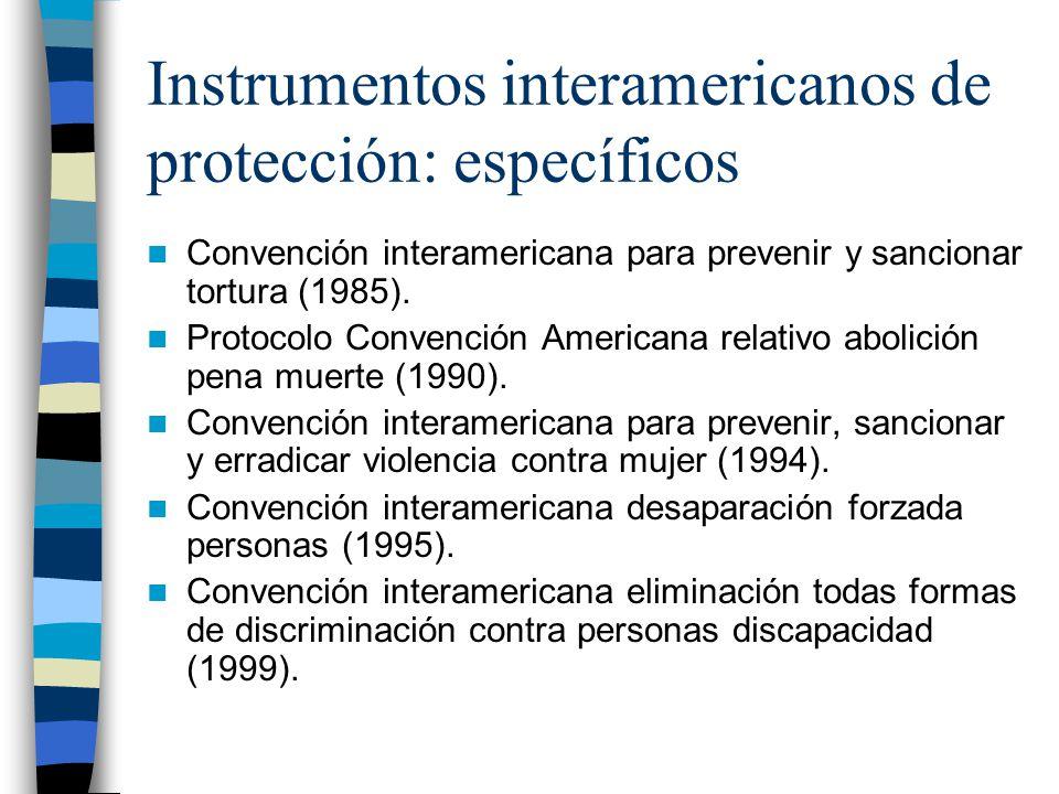 Instrumentos interamericanos de protección: específicos