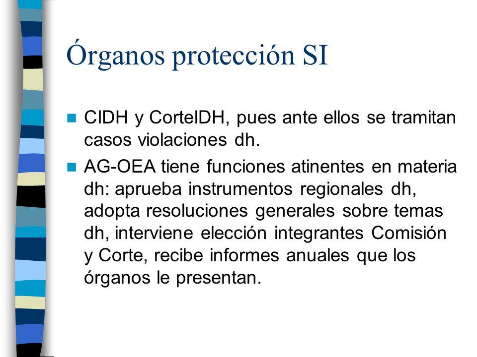 Órganos protección SI CIDH y CorteIDH, pues ante ellos se tramitan casos violaciones dh.