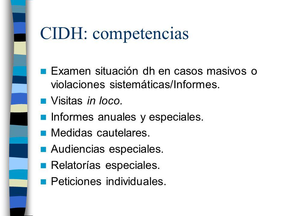 CIDH: competencias Examen situación dh en casos masivos o violaciones sistemáticas/Informes. Visitas in loco.