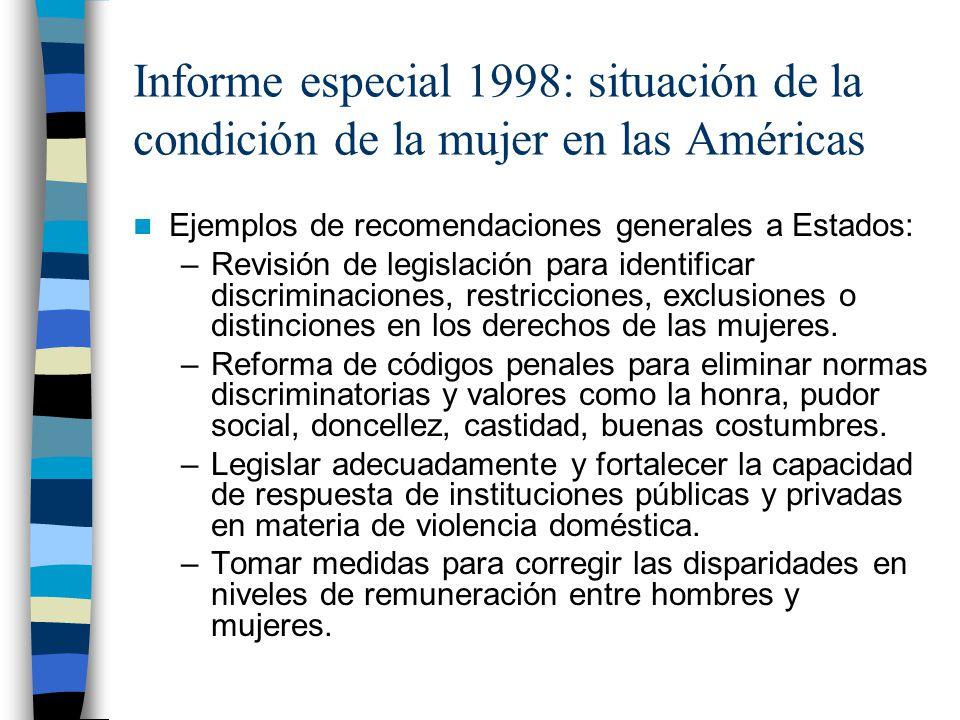 Informe especial 1998: situación de la condición de la mujer en las Américas