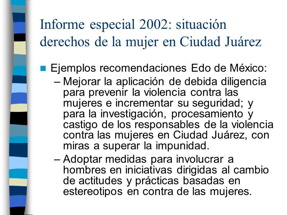Informe especial 2002: situación derechos de la mujer en Ciudad Juárez