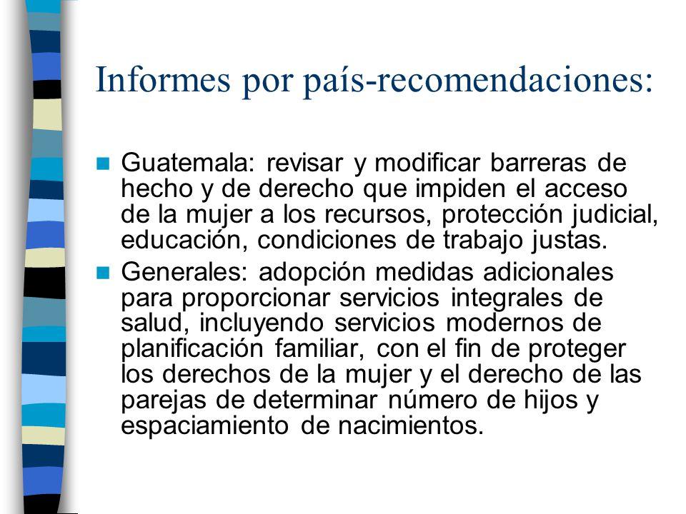 Informes por país-recomendaciones: