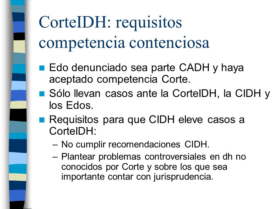 CorteIDH: requisitos competencia contenciosa