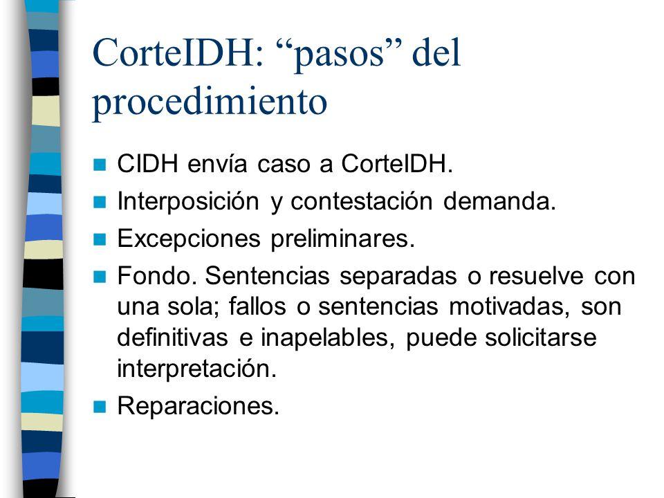 CorteIDH: pasos del procedimiento
