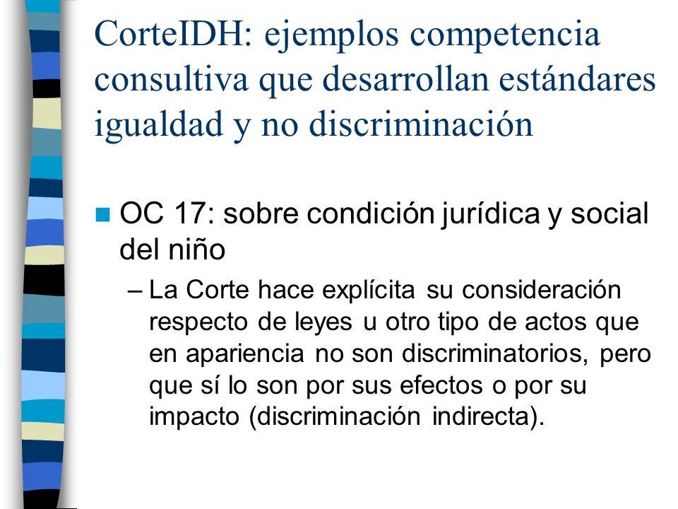 CorteIDH: ejemplos competencia consultiva que desarrollan estándares igualdad y no discriminación