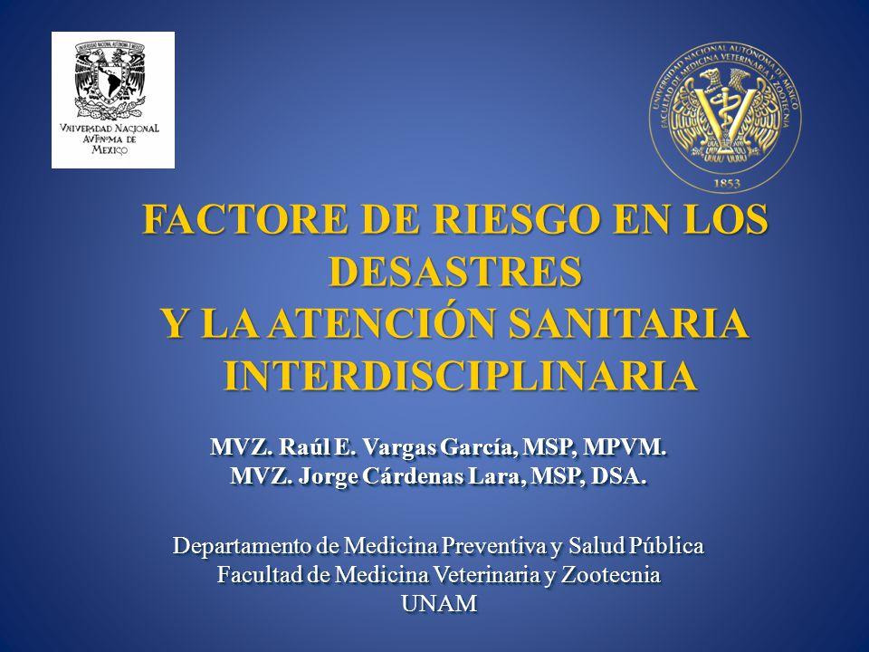 FACTORE DE RIESGO EN LOS DESASTRES Y LA ATENCIÓN SANITARIA