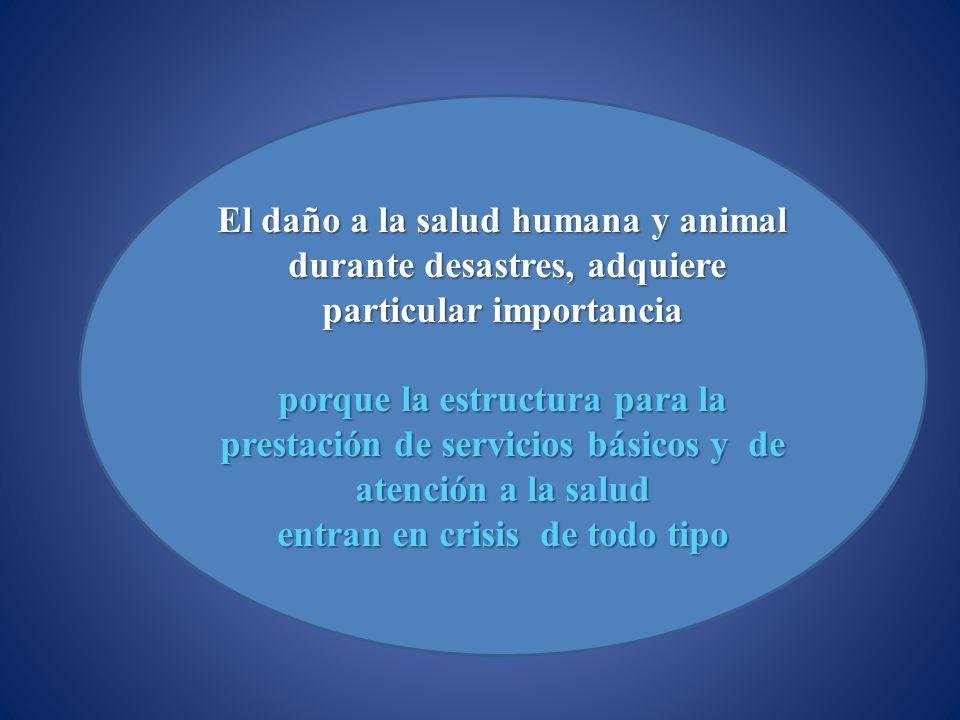 El daño a la salud humana y animal durante desastres, adquiere