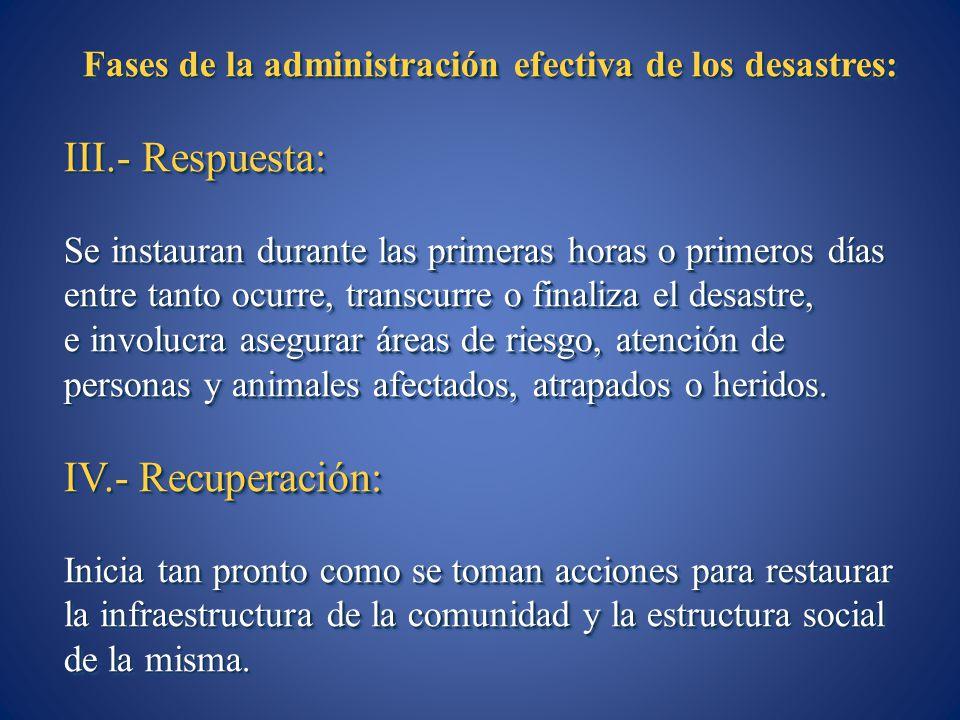 Fases de la administración efectiva de los desastres: