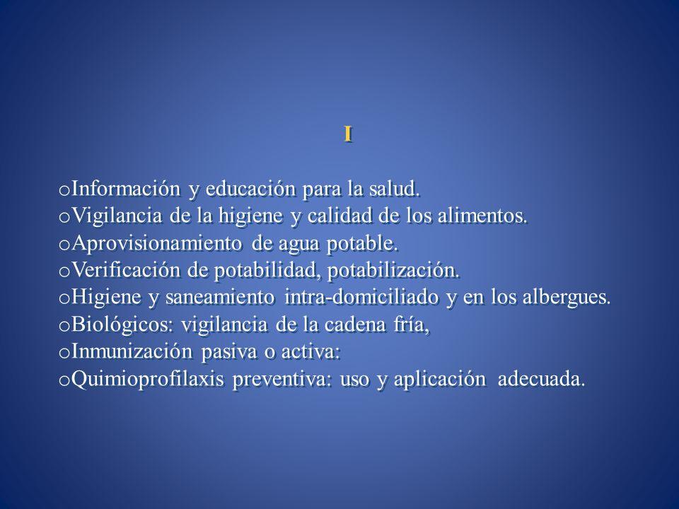 I Información y educación para la salud. Vigilancia de la higiene y calidad de los alimentos. Aprovisionamiento de agua potable.