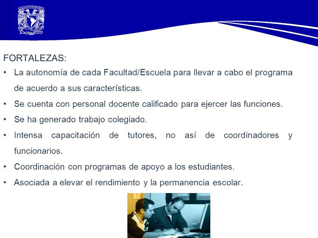 FORTALEZAS: La autonomía de cada Facultad/Escuela para llevar a cabo el programa de acuerdo a sus características.