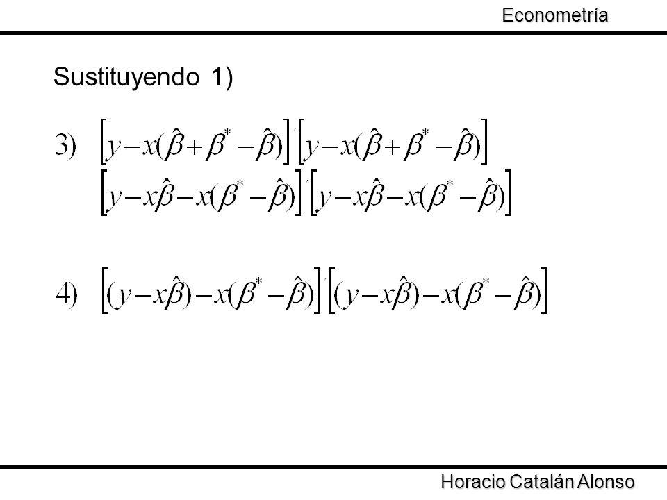 Sustituyendo 1) Econometría Taller de Econometría