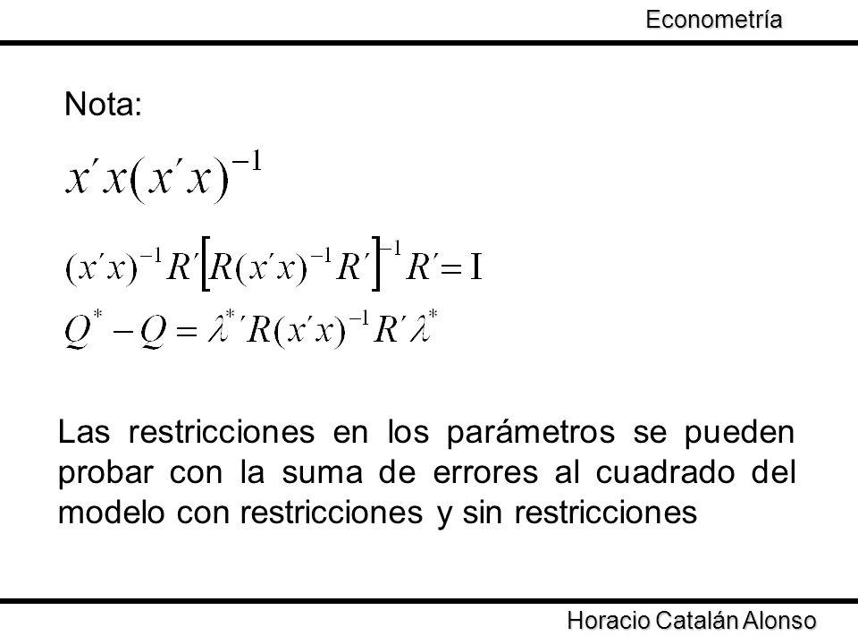 Econometría Taller de Econometría. Nota: